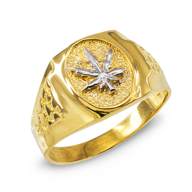 Men's Gold Marijuana Leaf Cannabis Ring