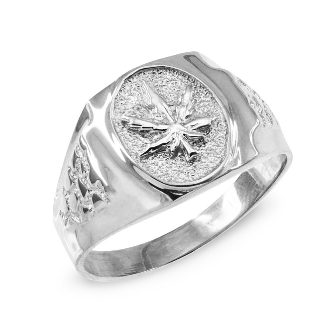 Men's White Gold Marijuana Leaf Cannabis Ring