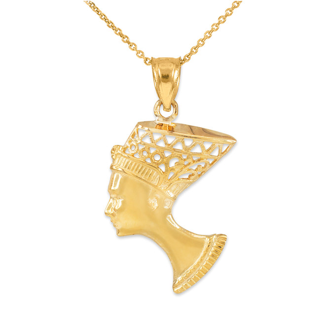 Gold Queen Nefertiti Filigree Pendant Necklace
