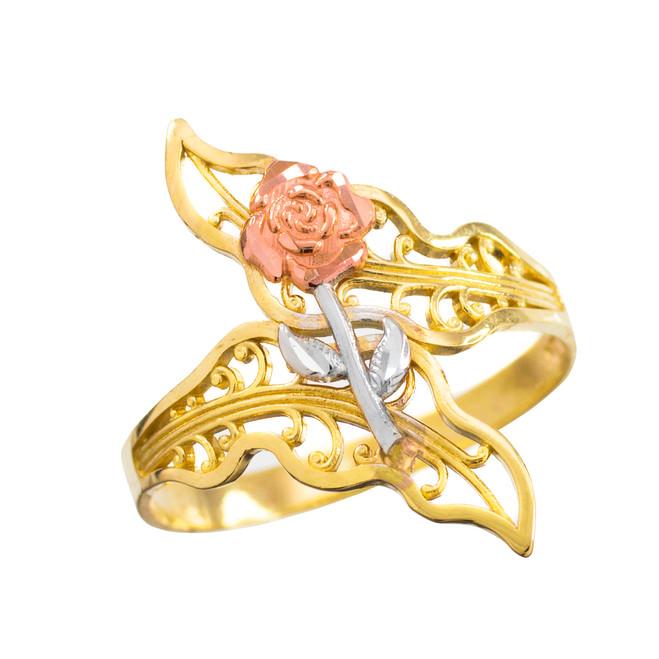 Multi-Tone Gold Rose Filigree Ring