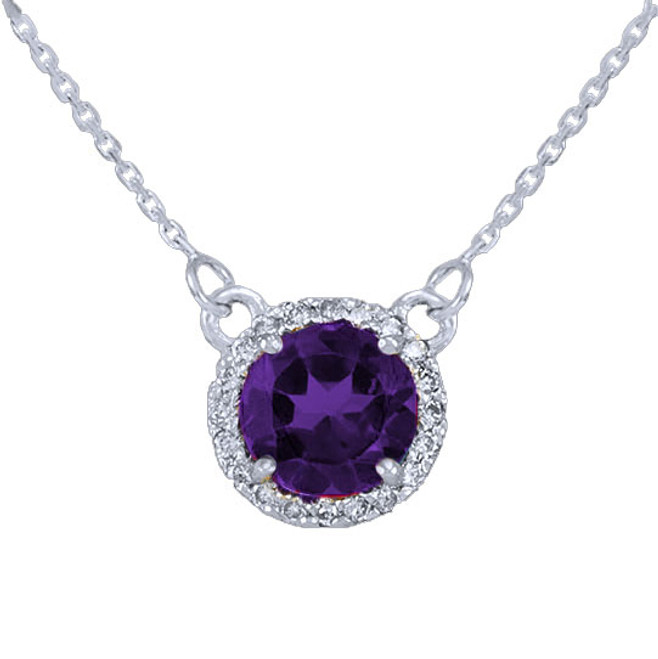 14k White Gold Diamond Amethyst Necklace