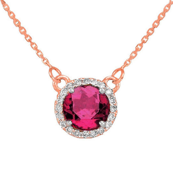 14k Rose Gold Diamond Alexandrite Necklace