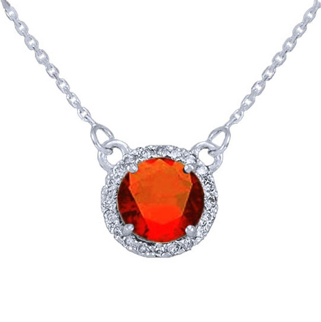 14k White Gold Diamond Garnet Necklace