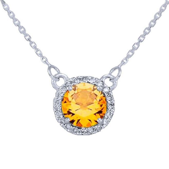 14k White Gold Diamond Citrine Necklace
