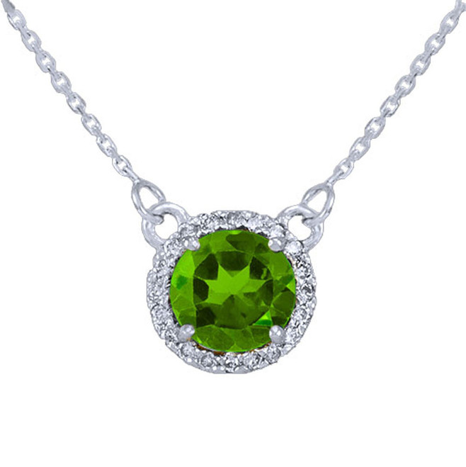 14k White Gold Diamond Peridot Necklace