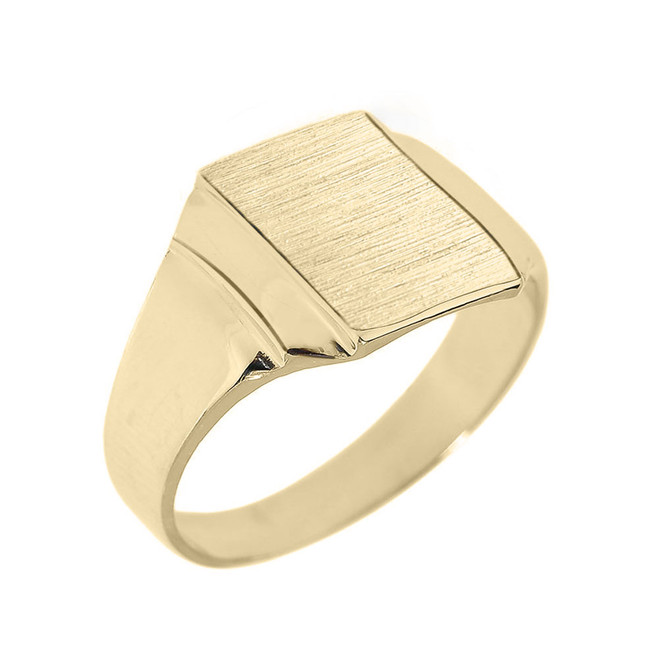 Engravable Solid Yellow Gold Men's Signet Ring