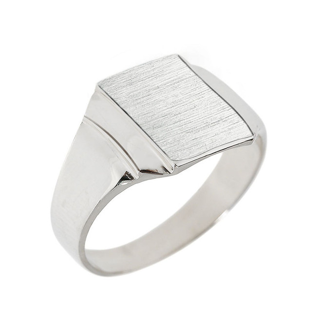 Engravable Solid White Gold Men's Signet Ring