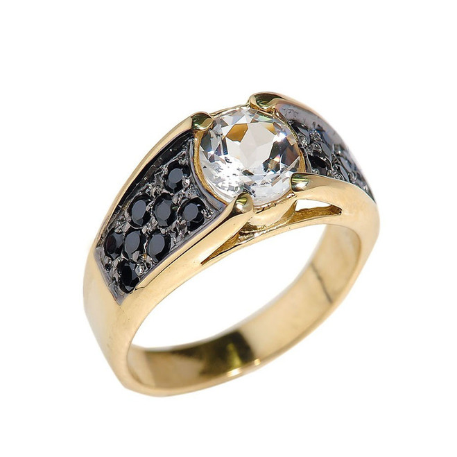 Yellow Gold White Topaz and Black Diamonds Engagement Ring