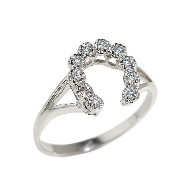White Gold Cubic Zirconia Horseshoe Ladies Ring
