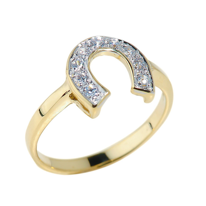 Yellow Gold CZ Studded Horseshoe Ladies Ring