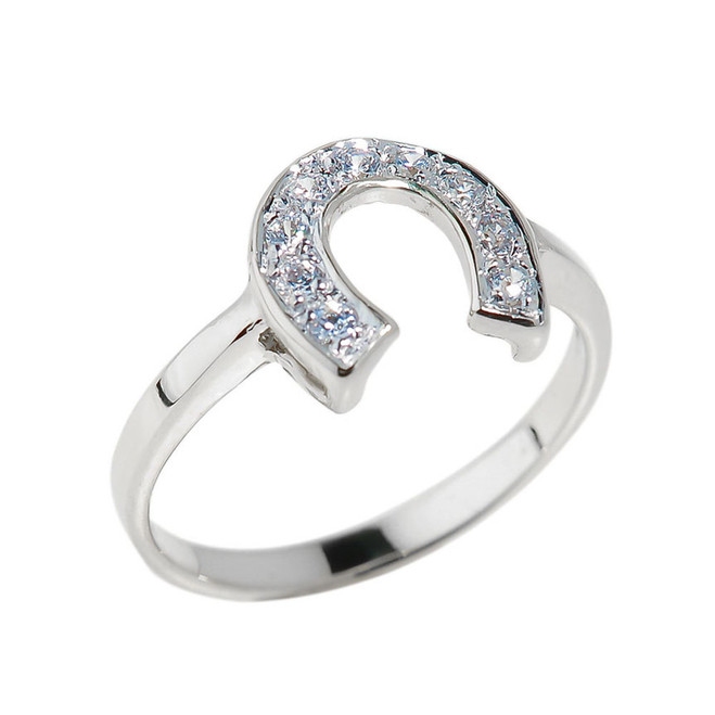 White Gold Diamonds Studded Horseshoe Ladies Ring