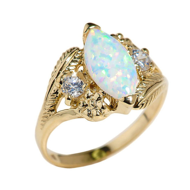 Yellow Gold Marquise Opal Gemstone Ring