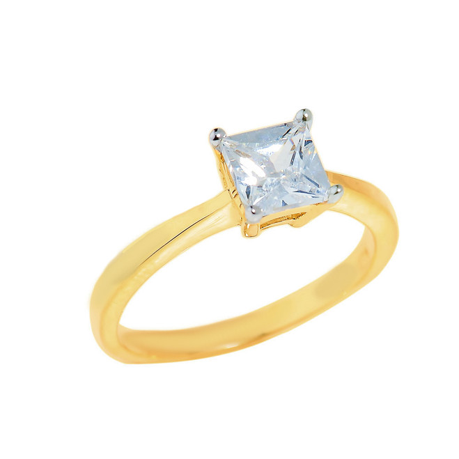 Gold CZ Princess Cut Engagement Ring