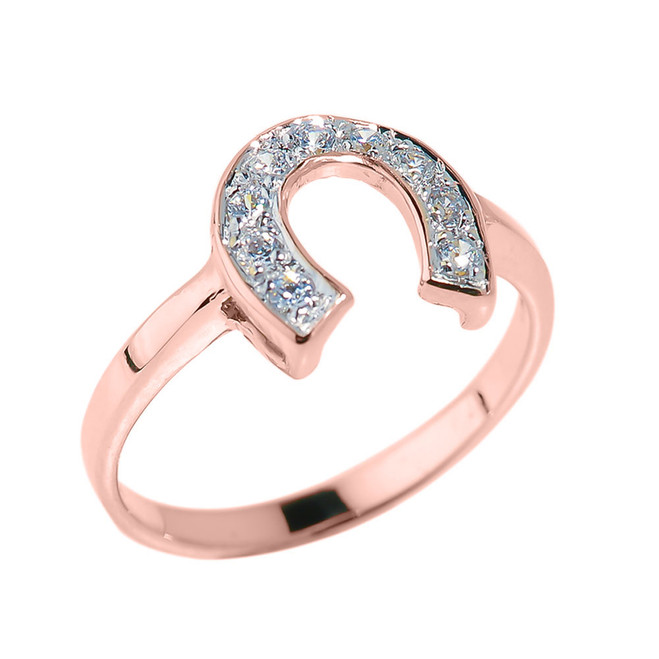Rose Gold Diamonds Studded Horseshoe Ladies Ring