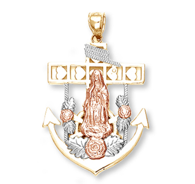 Tri Color Gold Anchor with Guadalupe Pendant2