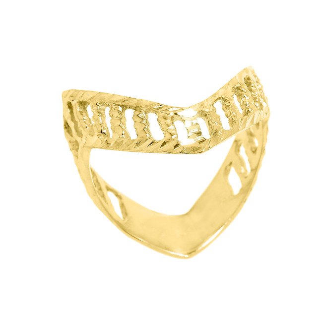 Solid Yellow Gold Diamond-Cut Open Work Thumb Ring