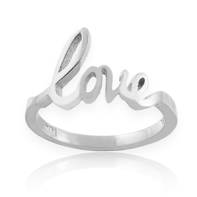 "Solid White Gold ""Love"" Script Ring"