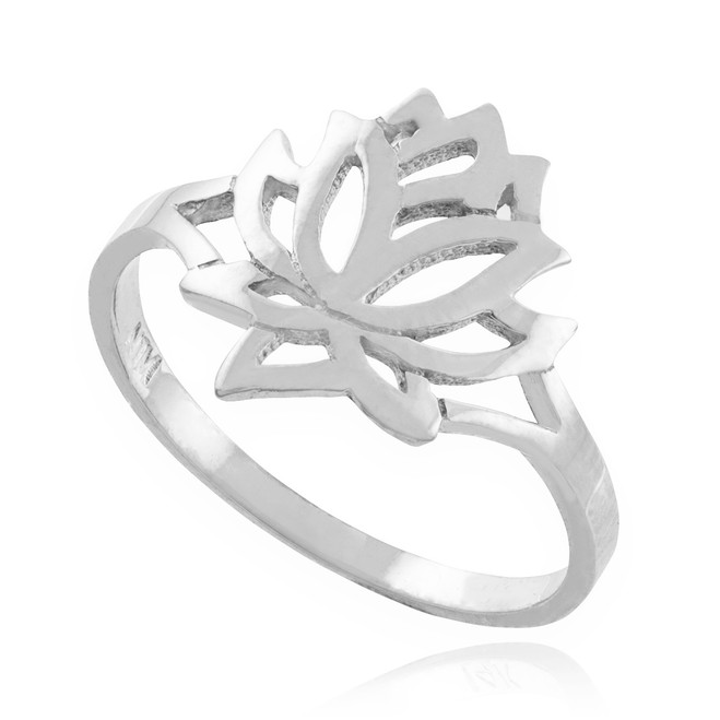 Solid White Gold Lotus Flower Ring