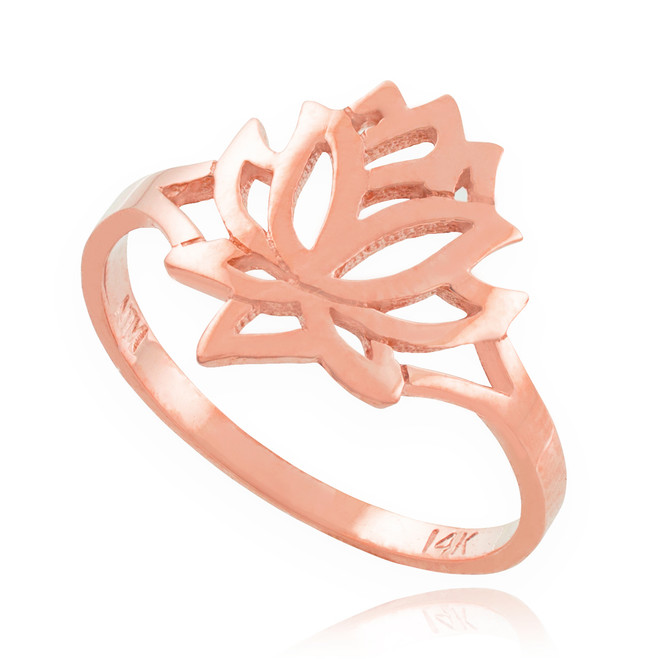 Solid Rose Gold Lotus Flower Ring