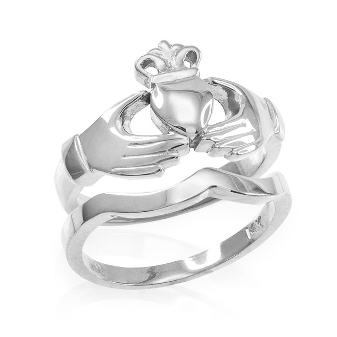 2-Piece White Gold Classic Claddagh Engagement Ring Band