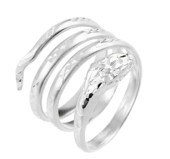 Sterling Silver Coiled Snake Ring