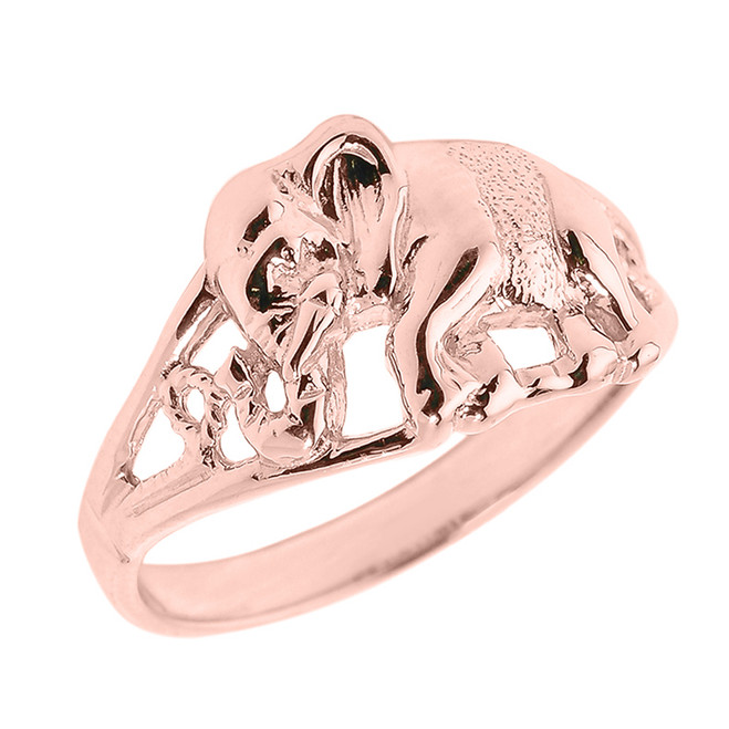 Solid Rose Gold Openwork Elephant Ring