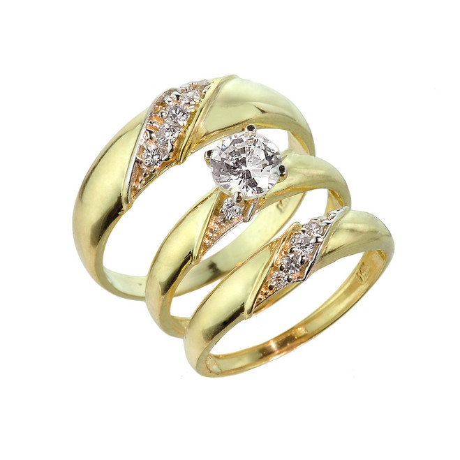 Gold CZ Wedding Ring Three-Piece Set
