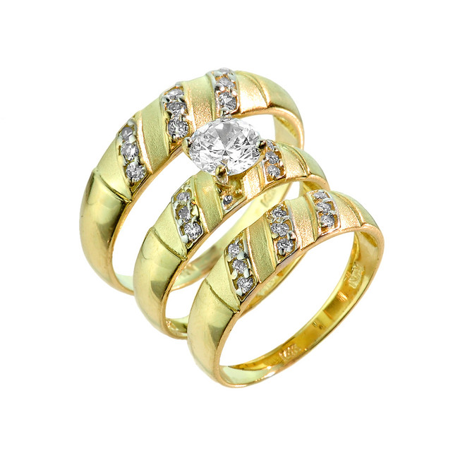 Three-Piece Gold CZ Wedding Ring Set