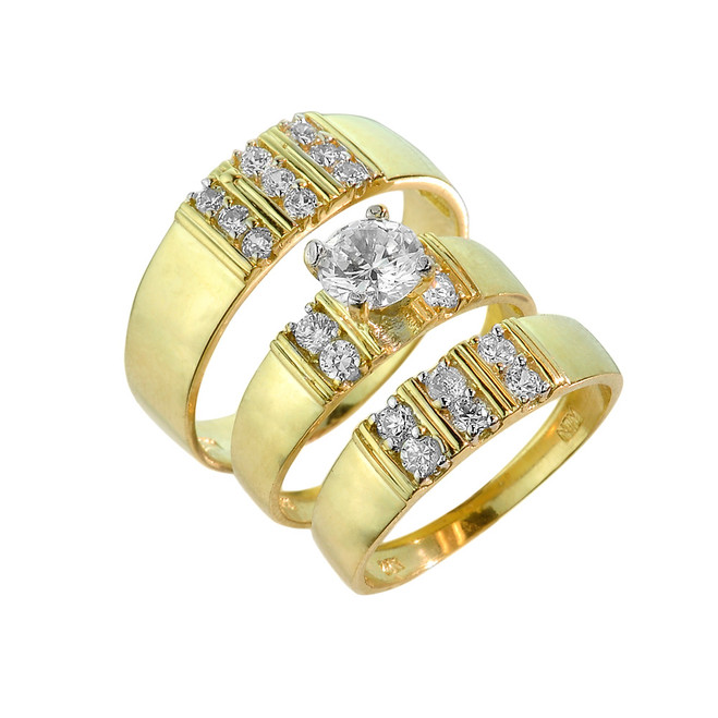 Gold CZ Wedding Ring Set (Three-Piece)