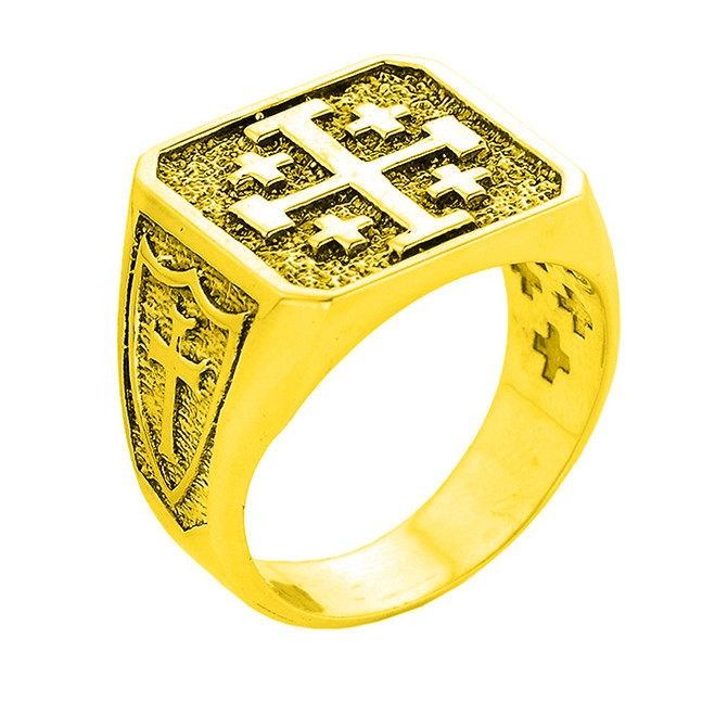 Yellow Gold Crusaders Band Jerusalem Cross Ring for Men
