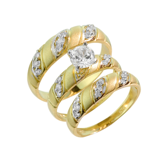 gold cz 3 piece wedding ring set - 3 Piece Wedding Ring Set