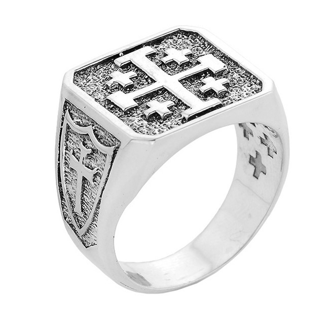 White Gold Crusaders Band Jerusalem Cross Ring for Men