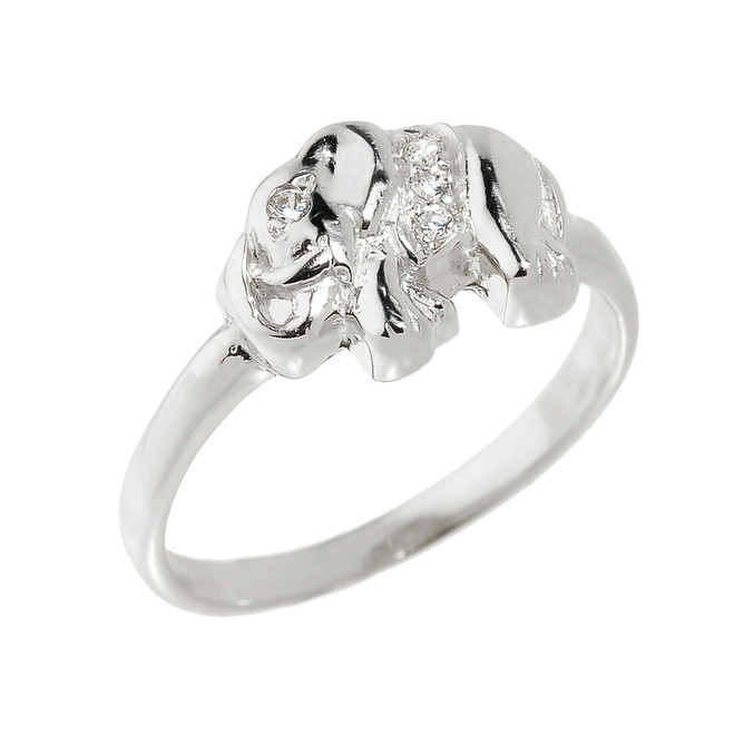 Sterling Silver CZ Studded Elephant Ring