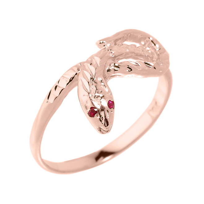 Rose Gold Diamond-Cut Snake Ring