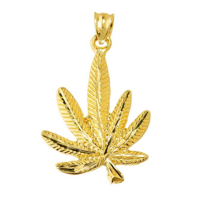 Yellow Gold Marijuana Charm Pendant