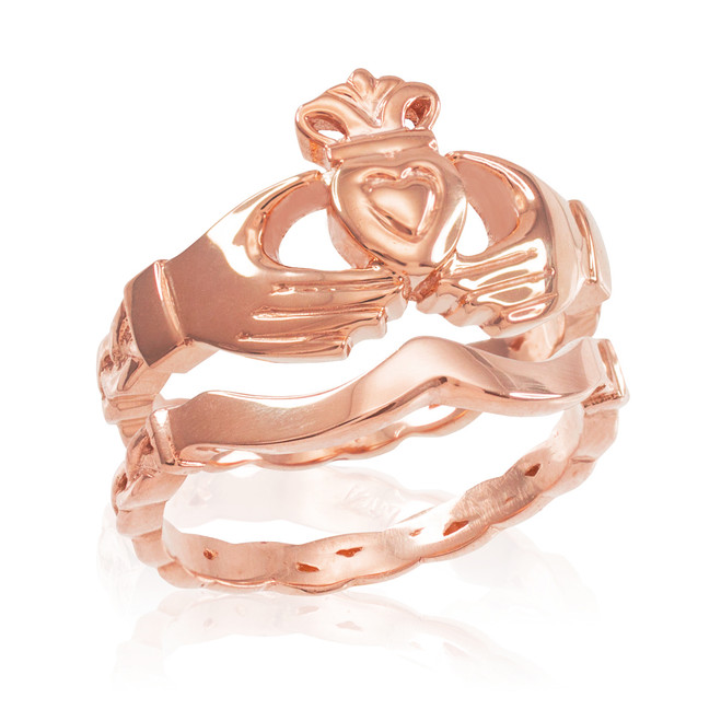 2-Piece Rose Gold Claddagh Engagement Ring with Celtic Band