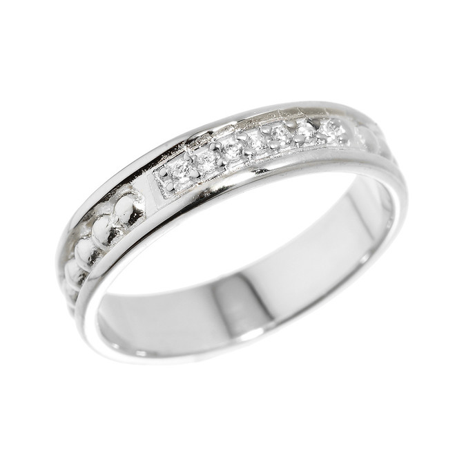 White Gold Unisex Wedding Band with CZ