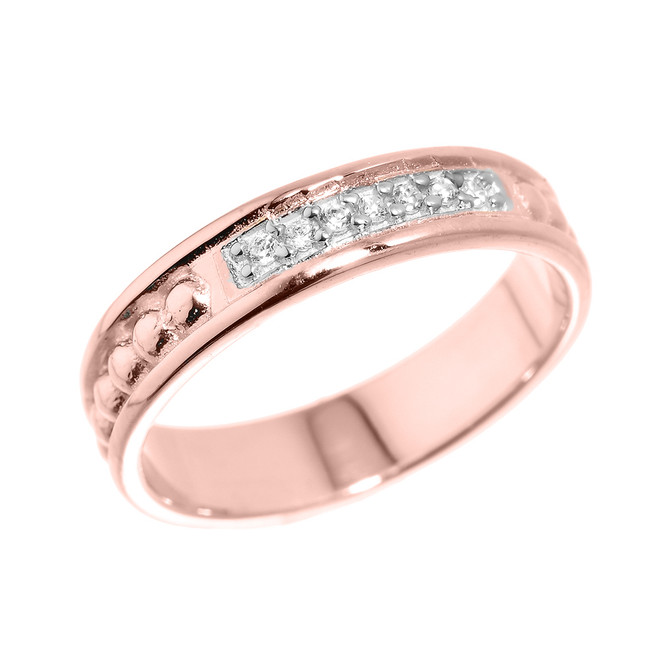 Rose Gold Unisex Wedding Band with CZ