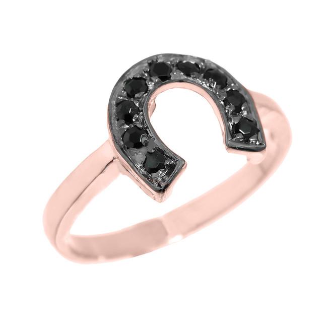 Rose Gold Black Diamond Horseshoe Ladies Ring