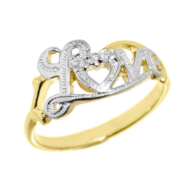 """Love"" Script Yellow Gold Diamond Ring"