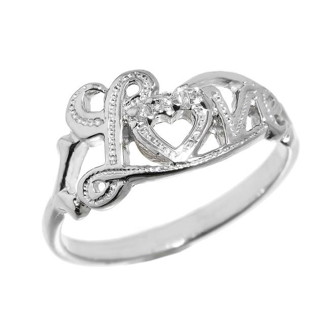 """Love"" Script Sterling Silver Diamond Ring"