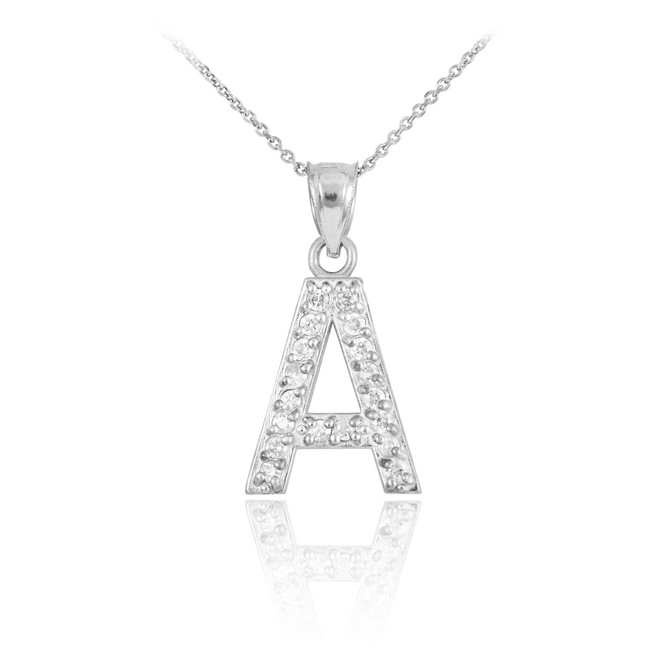 "Sterling Silver Letter ""A"" Initial CZ Monogram Pendant Necklace"