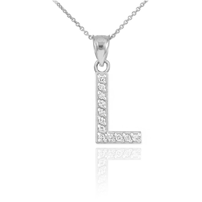 "Sterling Silver Letter ""L"" CZ Initial Pendant Necklace"