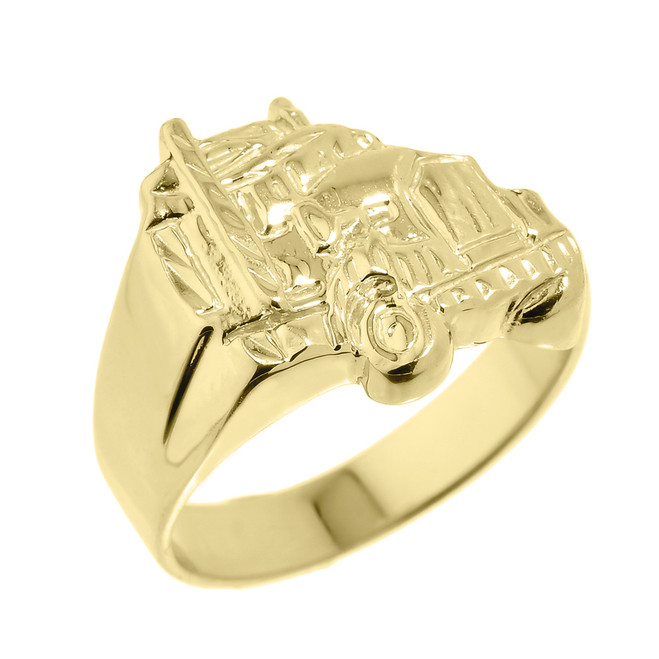 Men's Yellow Gold Truck Design Ring