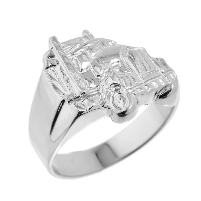 Men's White Gold Truck Design Ring