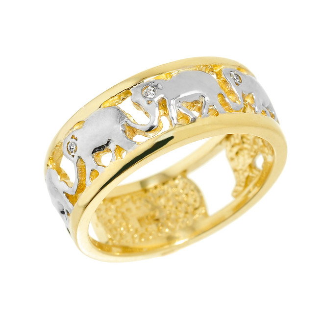 Solid Yellow Gold Openwork Diamond Elephant Ring
