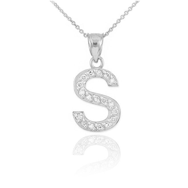 "Sterling Silver Letter ""S"" CZ Initial Pendant Necklace"