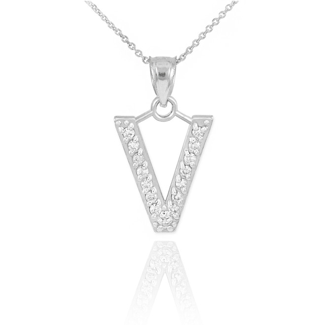 "Sterling Silver Letter ""V"" CZ Initial Pendant Necklace"