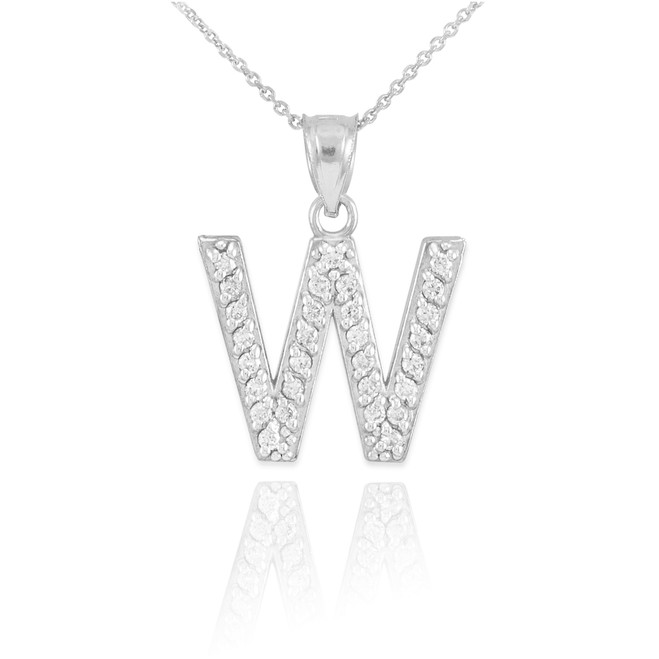 """Sterling Silver Letter """"W"""" Initial CZ Pendant Necklace"""