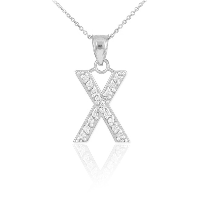 "Sterling Silver Letter ""X"" CZ Initial Pendant Necklace"